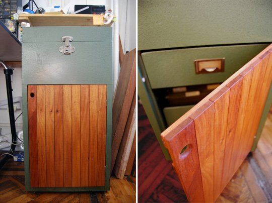 Renovating an Old Steel Filing Cabinet with Wood