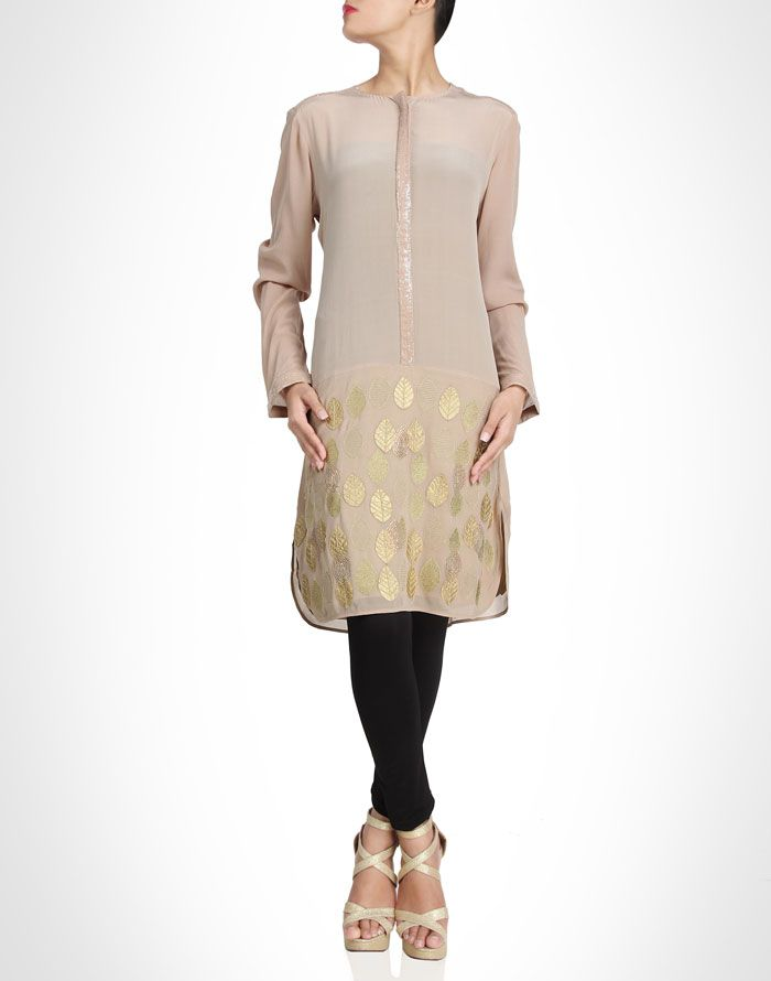 Beige toned tunic with gold detailing. Also available in pink. Shop Now: www.kimaya.in