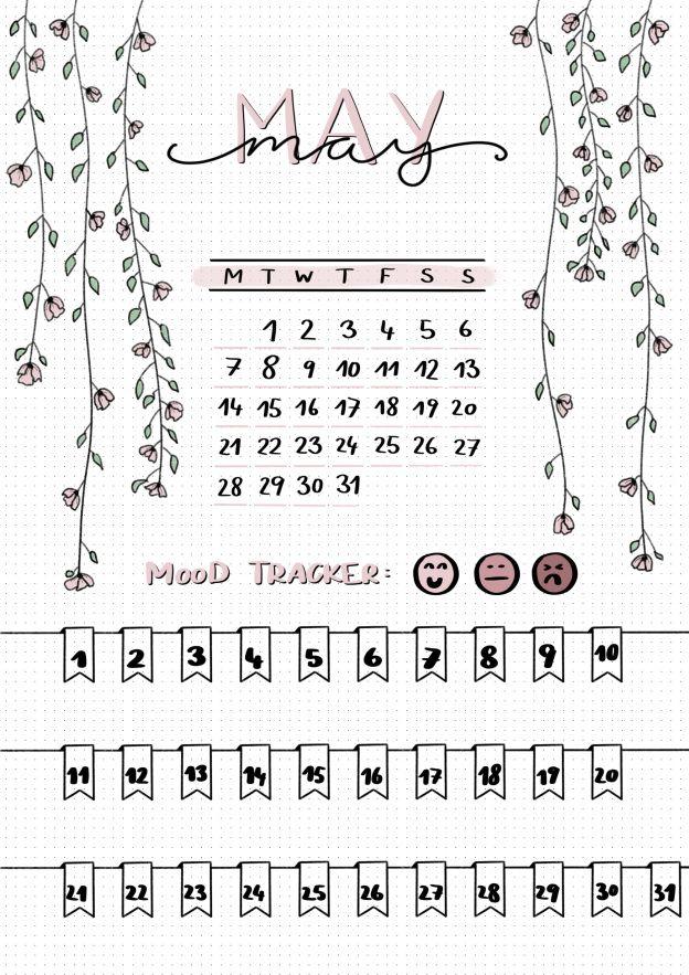 bullet journal : MAY cover sheet + mood tracker