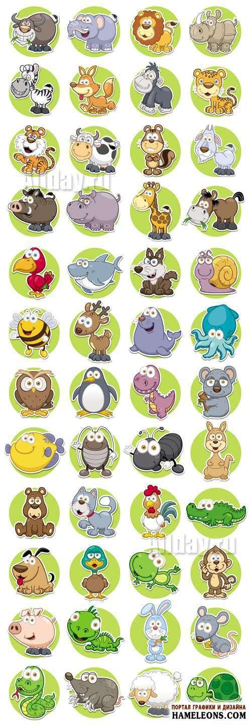 Иконки с милыми мультяшными животными в векторе | Cute Animals Icons Vector