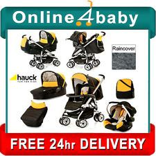 HAUCK CONDOR BLACK ALL IN ONE TRIO SET TRAVEL SYSTEM STROLLER CAR SEAT CARRYCOT