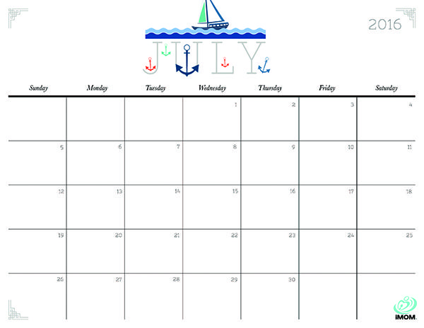 Download iMOM's Free July 2016 printable calendar. Climb aboard as we sail through summer.