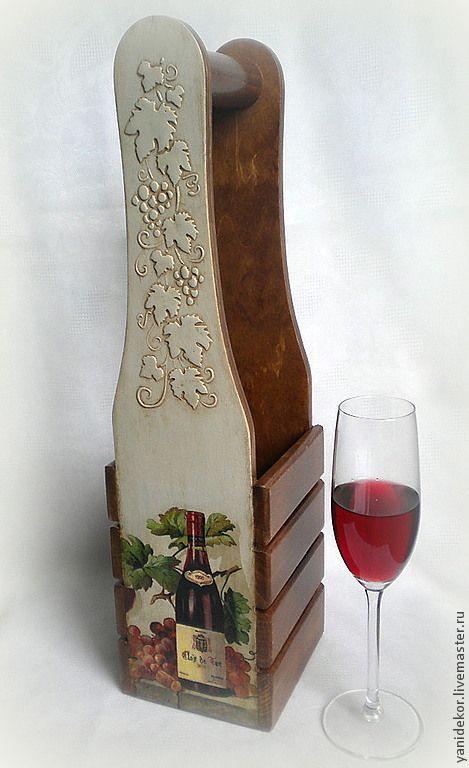 Купить Короб для вина декупаж Красное Вино - коричневый, короб, короб для кухни, короб для вина