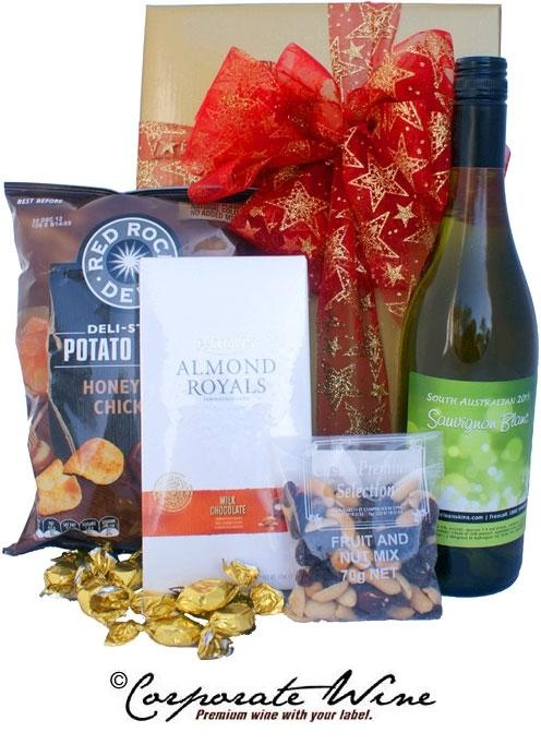 South Australian Sauvignon Blanc, complimented  by  gourmet goodies, is included in this lovely Gift Hamper from Corporate Wine.