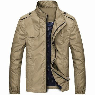Mens Spring Lightweight Water-repellent Windproof Stand Collar Casual Jacket - Newchic Mobile.