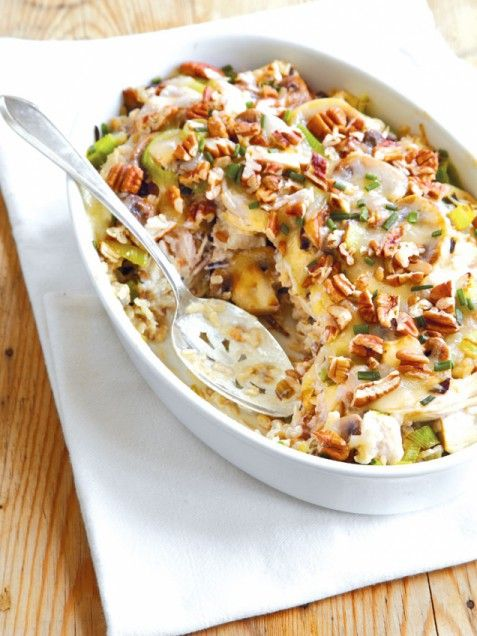 Chicken and Wild Rice with Pecans | Courtesy of Southern Living Around the Southern Table by Rebecca Lang, Oxmoor House 2012. | Everyone seems to have a version of chicken-and-rice casserole. It's a universal comfort food, no matter where you grew up. I like the texture of the pecans on top of this casserole and the sophistication of leeks and white Cheddar. | From: ivillage.com