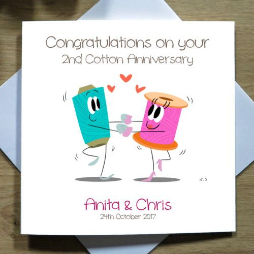 Personalised-Handmade-2nd-Cotton-Wedding-Anniversary-Card-Second-Cartoon-Love