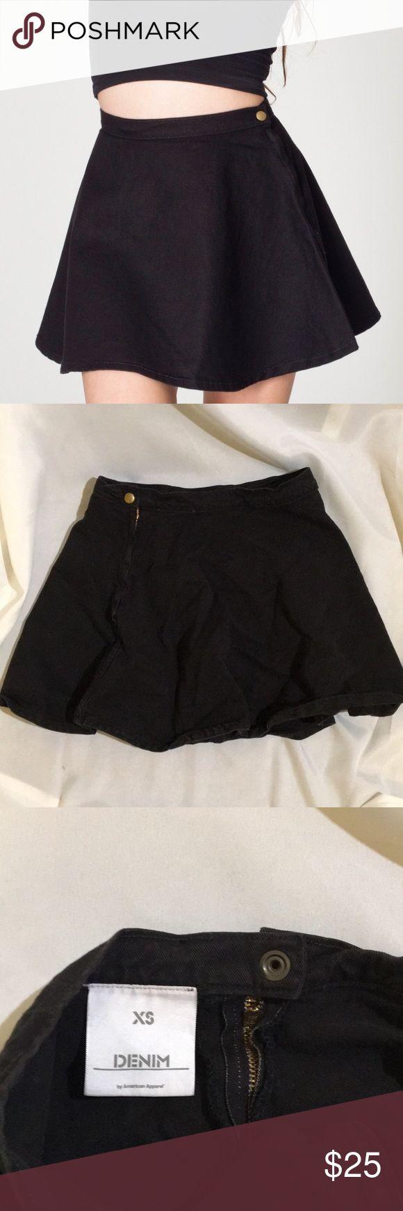 XS denim skater skirt American apparel denim skater skirt black. Excellent condition American Apparel Skirts