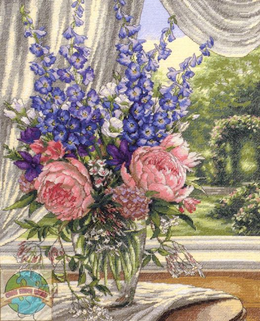 Peonies and Delphiniums Counted Cross Stitch Kit by CCsDodads