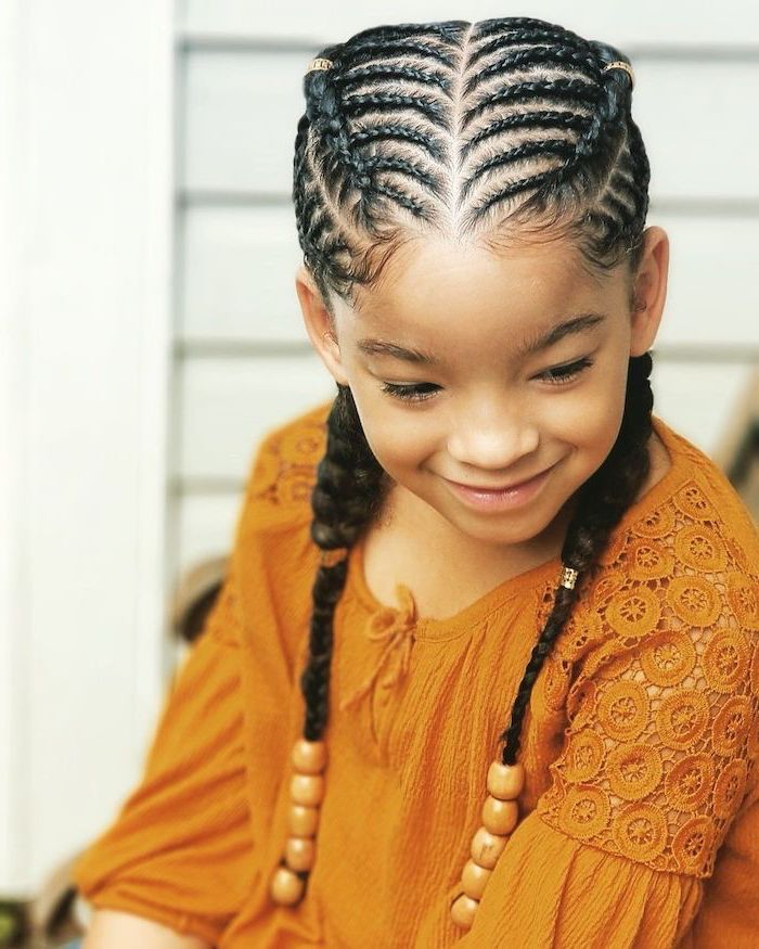 Orange Top Braids With Beads Braids For Short Hair Little Girl In 2020 Braids For Black Hair Braided Hairstyles Easy Big Box Braids Hairstyles