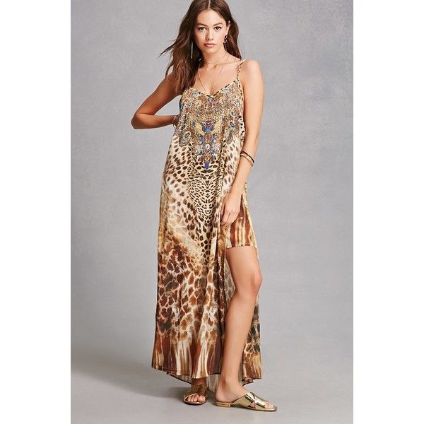 Forever21 Studded Leopard Maxi Dress ($65) ❤ liked on Polyvore featuring dresses, brown, cami maxi dress, v neck dress, slit dress, v-neck dresses and leopard print maxi dress