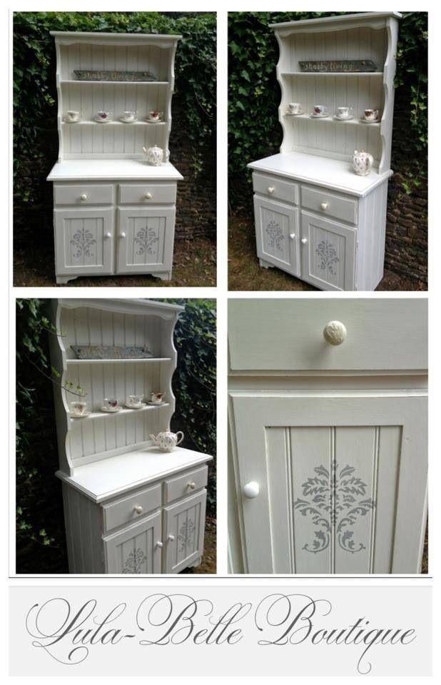 Welsh dresser painted in Annie Sloan old white chalk paint with duck egg blue stencilling