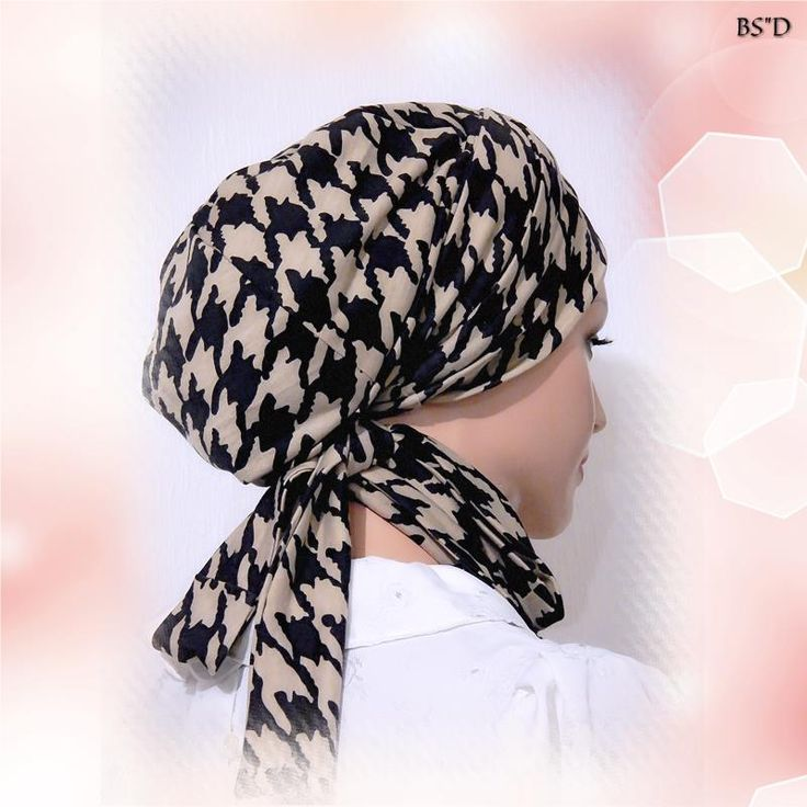 Fitted+Scarf+Sinar+Style+Tichel+Mitpachat+Hat+Snood+Brown+Houndstooth+Print