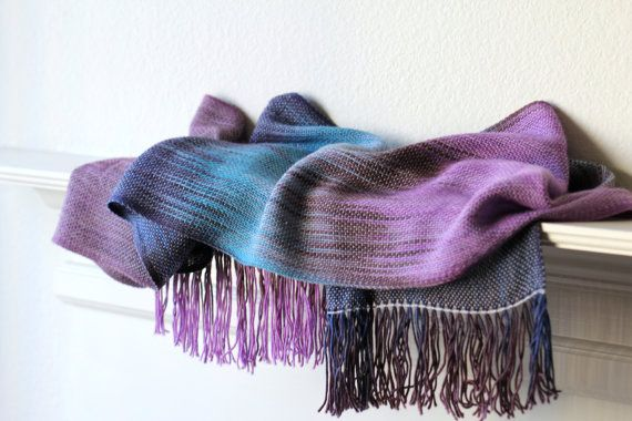 Bridesmaids gift!  Woven scarf, #pashmina scarf with gradient colors from turquoise to brown and violet with light silver shine. Perfect gift for her! This long scarf is ver... #kgthreads #ombré