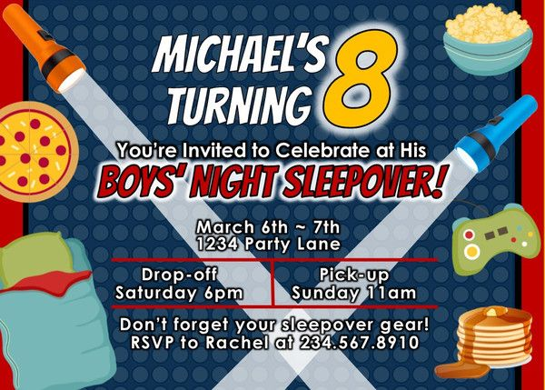 Printable Personalized Invitations This Boys will be Boys Sleepover invitation comes personalized and ready-to-print in a high resolution jpg file. You provide