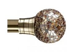 Fragments of amber mirror decorate this fabulous curtain pole   Available to see samples at Hillview