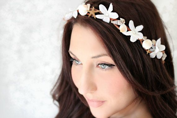 Seashells Starfish & Jasmin Beach Wedding Flower Crown. So cute for a beach wedding.