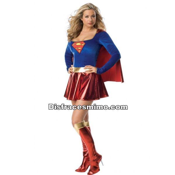 disfraz-superman-mujer-lujo en talla m/l en el que incluye Vestido con capa y cinturon