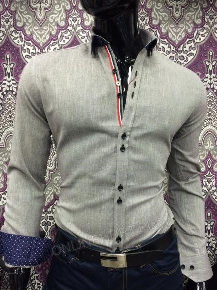 Koszula Męska Sedna TR8034  _A11 (M-3XL) SZARY