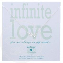 Heart to Get ketting Infinity zilver is een mooi fijn kettinkje met in het midden klein en subtiel het infinity teken. Het kettinkje komt op een leuk kaartje met de tekst: You are always on my mind.
