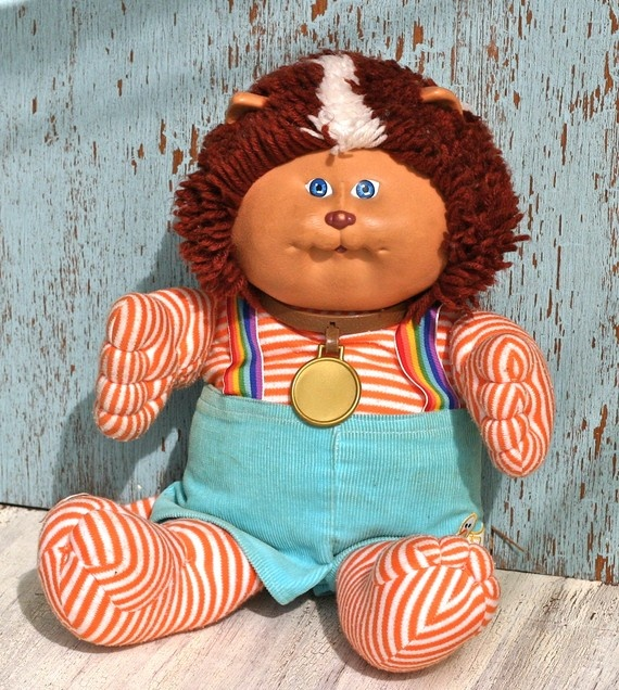 Cabbage Patch Koosas Cat..awww..I remember my cousin bought me one for my birthday, with this outfit, but he wasn't all stripey.