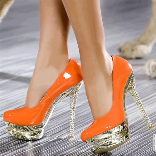 prettyyySlippers, Platform, Orange, Fashion Shoes, Pop Of Colors, Pump, High Heels, Special Events, White Dresses