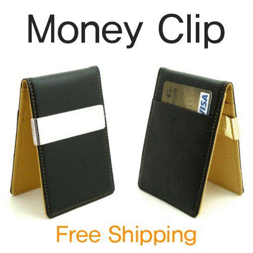 Mens European Money Clip Slim Wallet 7 Color Faux Lather Credit Card Holder