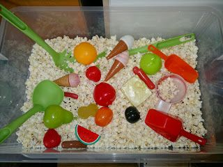 Popcorn sensory box (smalls amazing!) Hungary Caterpillar Week @ Messy Play By Le Baby Bakery
