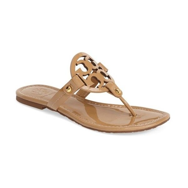 Women's Tory Burch 'Miller' Sandal ($185) ❤ liked on Polyvore featuring shoes, sandals, tory burch, sand patent, patent leather shoes, sand shoes, patent flip flops and patent shoes