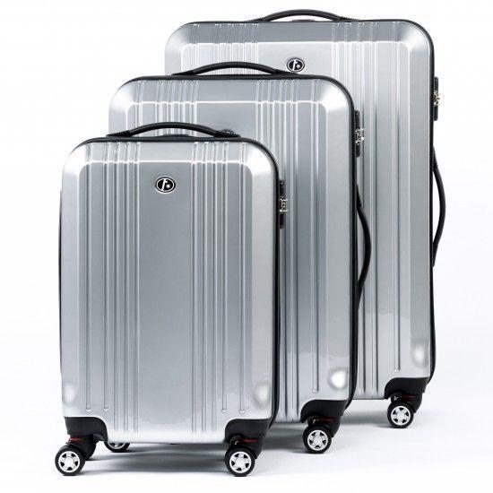 FERGÉ Dreier Kofferset CANNES - ABS & PC Trolley-Koffer silber glänzend Reisegepäck Koffer & Trolleys