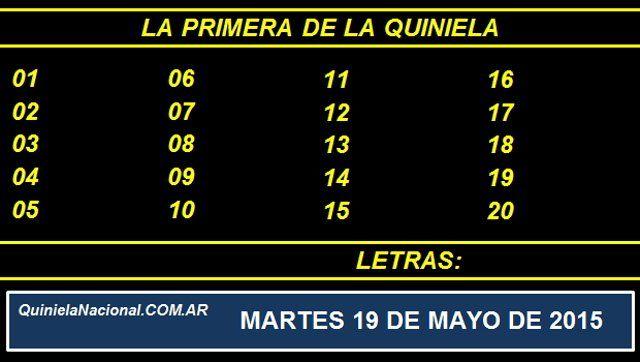 Quiniela Nacional La Primera Martes 19 de Mayo de 2015. Fuente: http://quinielanacional.com.ar Pizarra del sorteo desarrollado en el recinto de la Loteria Nacional a las 11:30 horas. La jugada se efectuó con total normalidad.