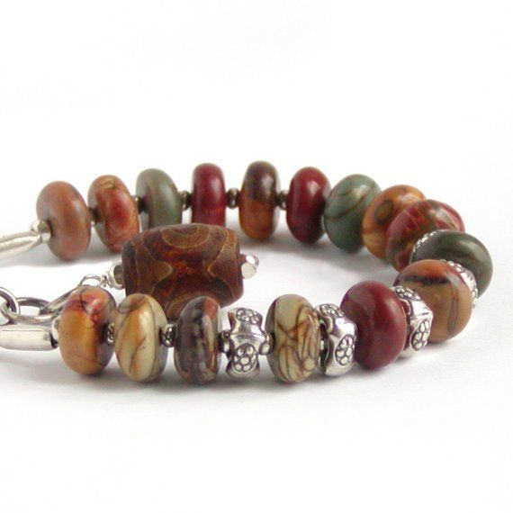 the colors of Fall ...Bracelets Rose, Artisan Silver, Pictures Jasper, Stones Jewelry, Rustic Nature, Nature Stones, Earthy Stones, Jade Bracelets, Jasper Bracelets