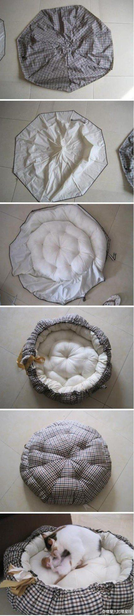 recycling an abandoned umbrella to make a kitty bed. wo ho how!!
