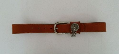 Made in Italy light brown Leather belt charms on buckle