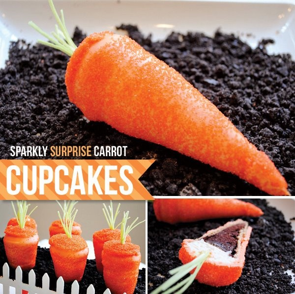 These carrots are actually cupcakes!! Cake batter is baked inside an ice cream cone, topped with icing and then coated in orange candy and oodles of sprinkles. Use crushed Oreos for the dirt. Edible grass provides the finishing touch on top