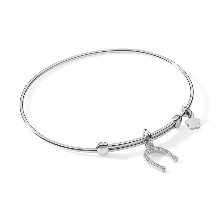 Bracciale rigido Ambrosia gioielli con ciondolo a forma di ferro di cavallo porta fortuna e strass  #gioielli #bracciali #ambrosia #portafortuna #ferrodicavallo