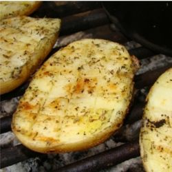 Braaied potato halves {Braai Side Dishes}