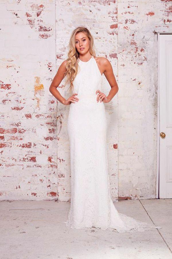 Athletic Body: Karen Willis Holmes Halter Sheath Gown in Lace, KleinfeldBridal.com