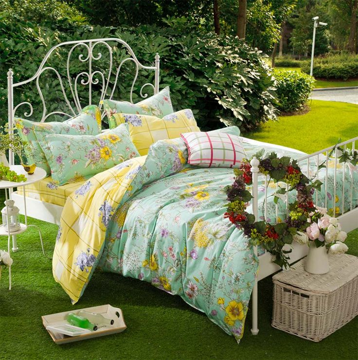 American rustic green yellow floral bed set,full queen cotton pastoral flower bed clothes flat sheet pillow case comforter cover