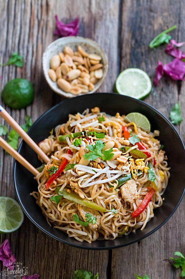 Chicken Pad Thai Noodles - the perfect easy weeknight meal. Best of all, this homemade gluten free recipe is full of authentic flavors & better than takeout! Weekly meal prep for the week and leftovers are great for lunch bowls for work or school.