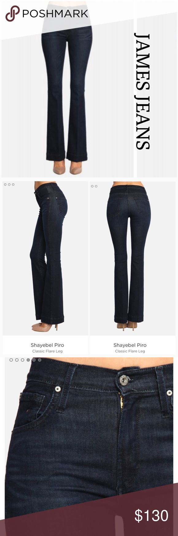 """James Jeans Shayebel Prio Classic Flare Leg BasicallyNew, Only worn once, they are too long for me. Very soft and stretchable, like not wearing jeans at all. Inseam 33"""" , waist lying flat 15 3/4"""" plus a lot of stretch. They are Size 31 which joes shows as a 14 converted but they are more like a 12. Large cuff band James Jeans Jeans Flare & Wide Leg"""