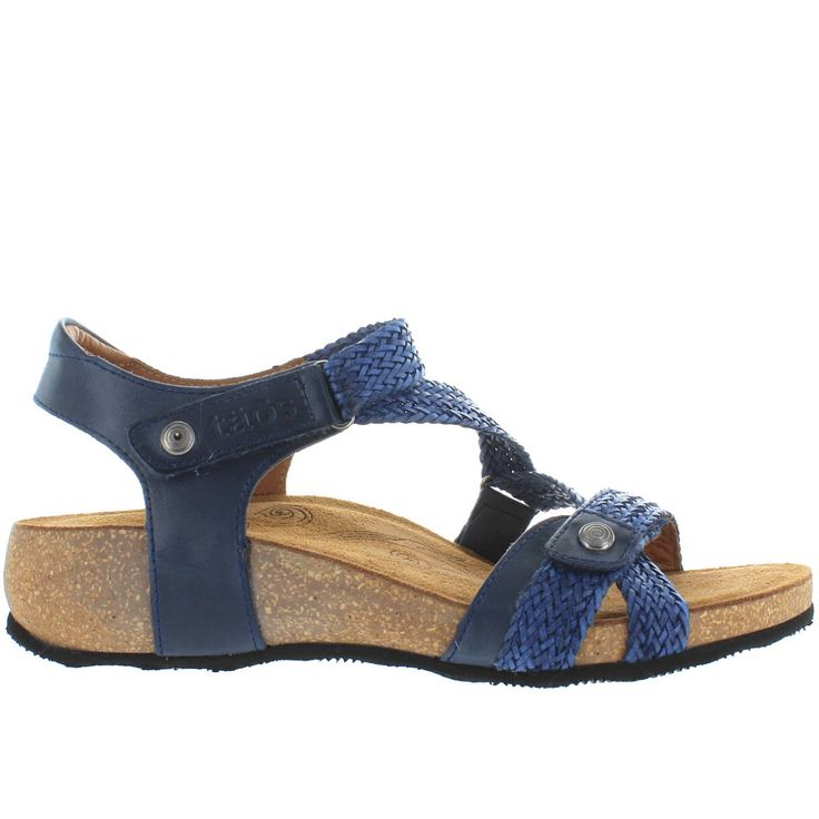 Taos Trulie - Navy Leather Woven Strappy Wedge Sandal