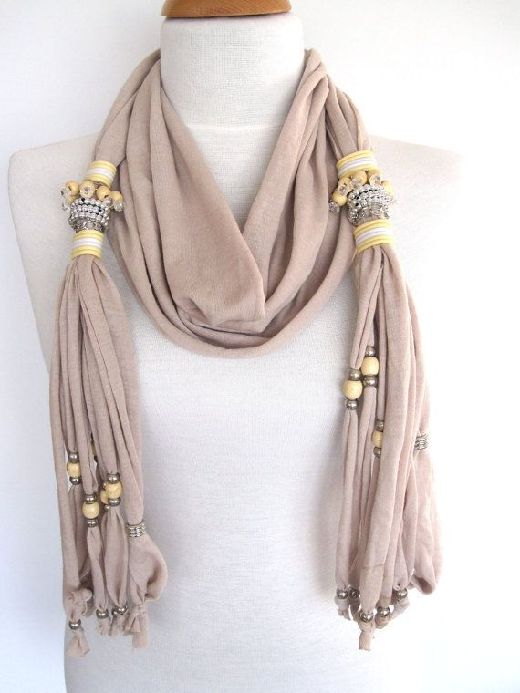 SULTANA Scarf Decorated With Crystals Beads by mediterraneanlights, $25.00