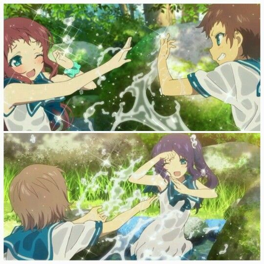 Water fight! ~ Nagi no Asukara (Nagi-Asu: A Lull in the Sea) - Manaka, Hikari,  Kaname,  & Chisaki