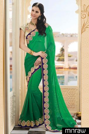 Gorgeous green banarasi silk saree