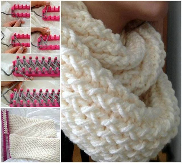 Loom Knitted scarf, step by step --> http://wonderfuldiy.com/wonderful-diy-easy-loom-knitted-scarf/
