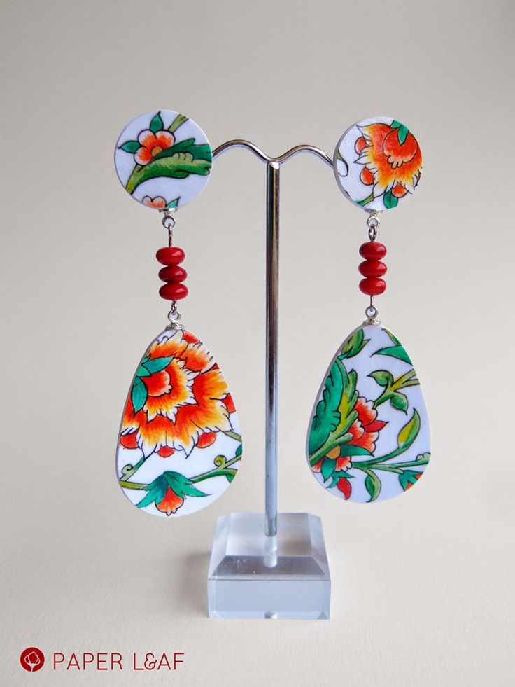 Porcelain Pomegranade | handpainted paper earrings with red coral | acrilyc paint on cardstock | Paper Leaf #fauxbrokenchina #paperjewellery #handpainted #PorcelainCollection