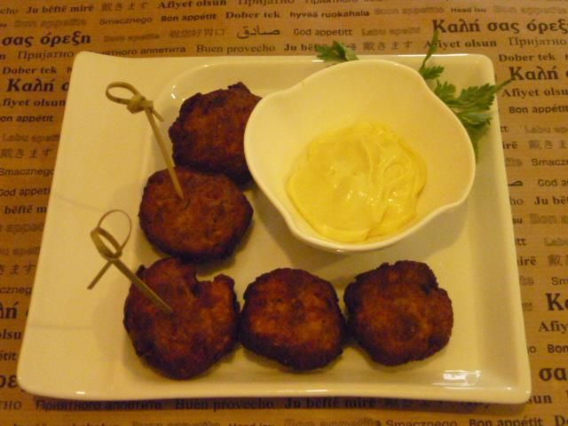 chicken balls with mustard sauce