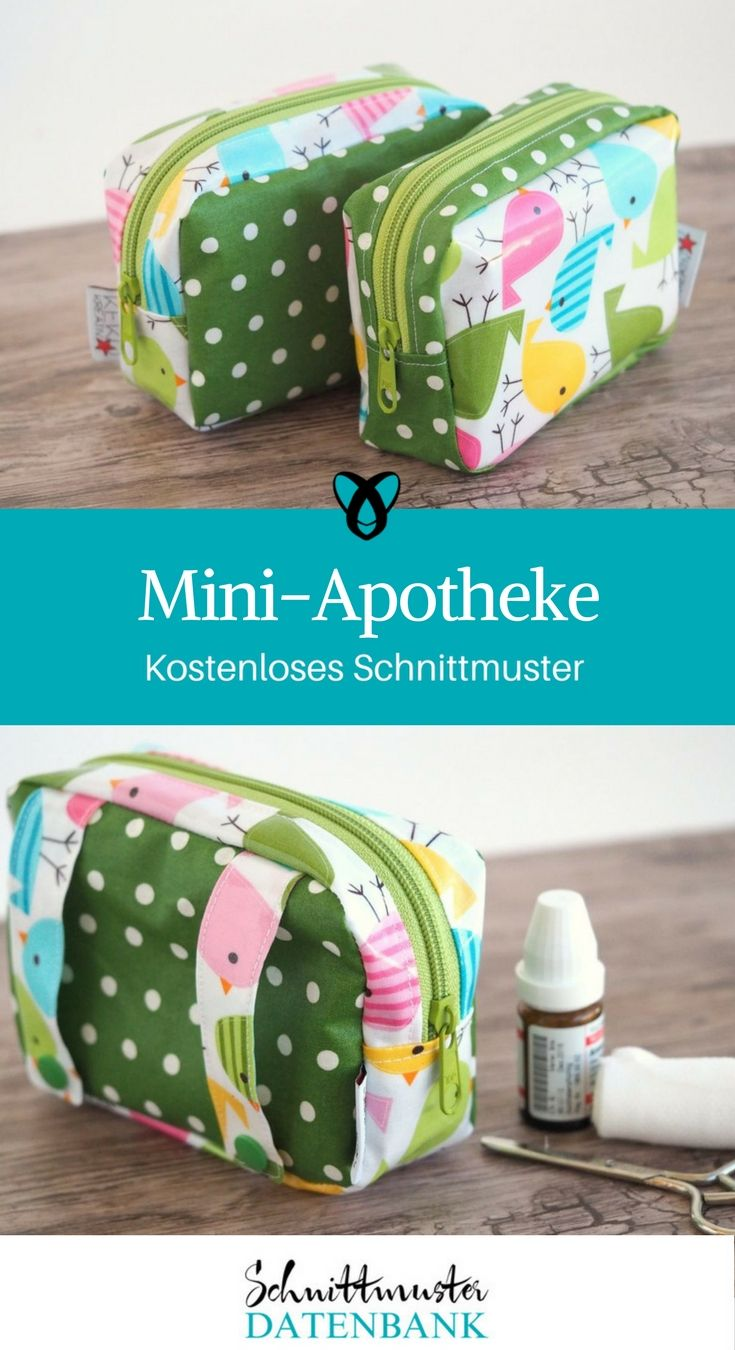 mini-apotheke etui kleine Tasche nähen kostenloses Schnittmuster gratis Nähanleitung Reiseapotheke Wachstuch