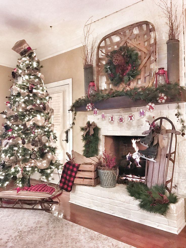 25 Best Ideas About Farmhouse Christmas Decor On | Christmas Mantels ...